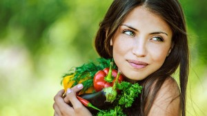 healthy woman with veggies